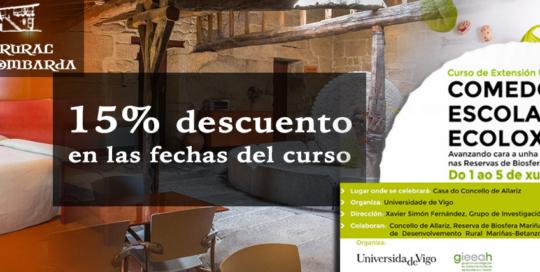 Curso Extensión Universitaria Comedores Escolares Ecolóxicos 15% descuento en Hotel Rural Torre Lombarda